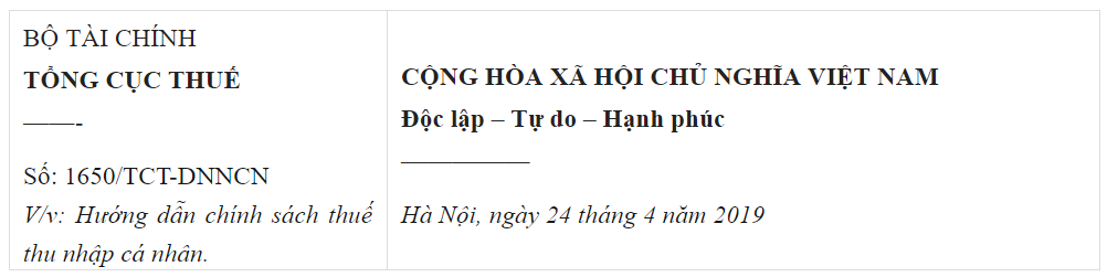 Công văn 1650/TCT-DNNCN ban hành ngày 24/4/2019.